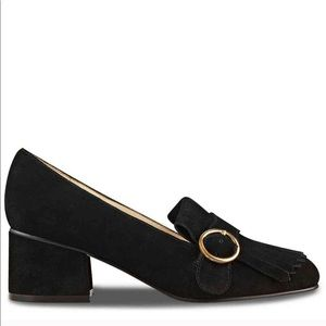 Marc Fisher Kiltie Suede Loafers w/ gold buckle